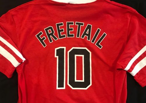 Freetail Block Letters on Back of Sports Jersey