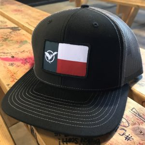 Black Trucker Hat with Texas Freetail Flag