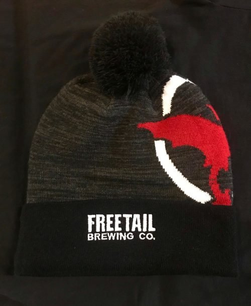 Dark Pom Beanie with Freetail Logo