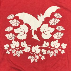 Freetail Bat with Surrounding Hops on Red Sweatshirt