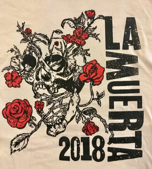 Skull and Roses Design with La Muerta Lettering on Sand Shirt